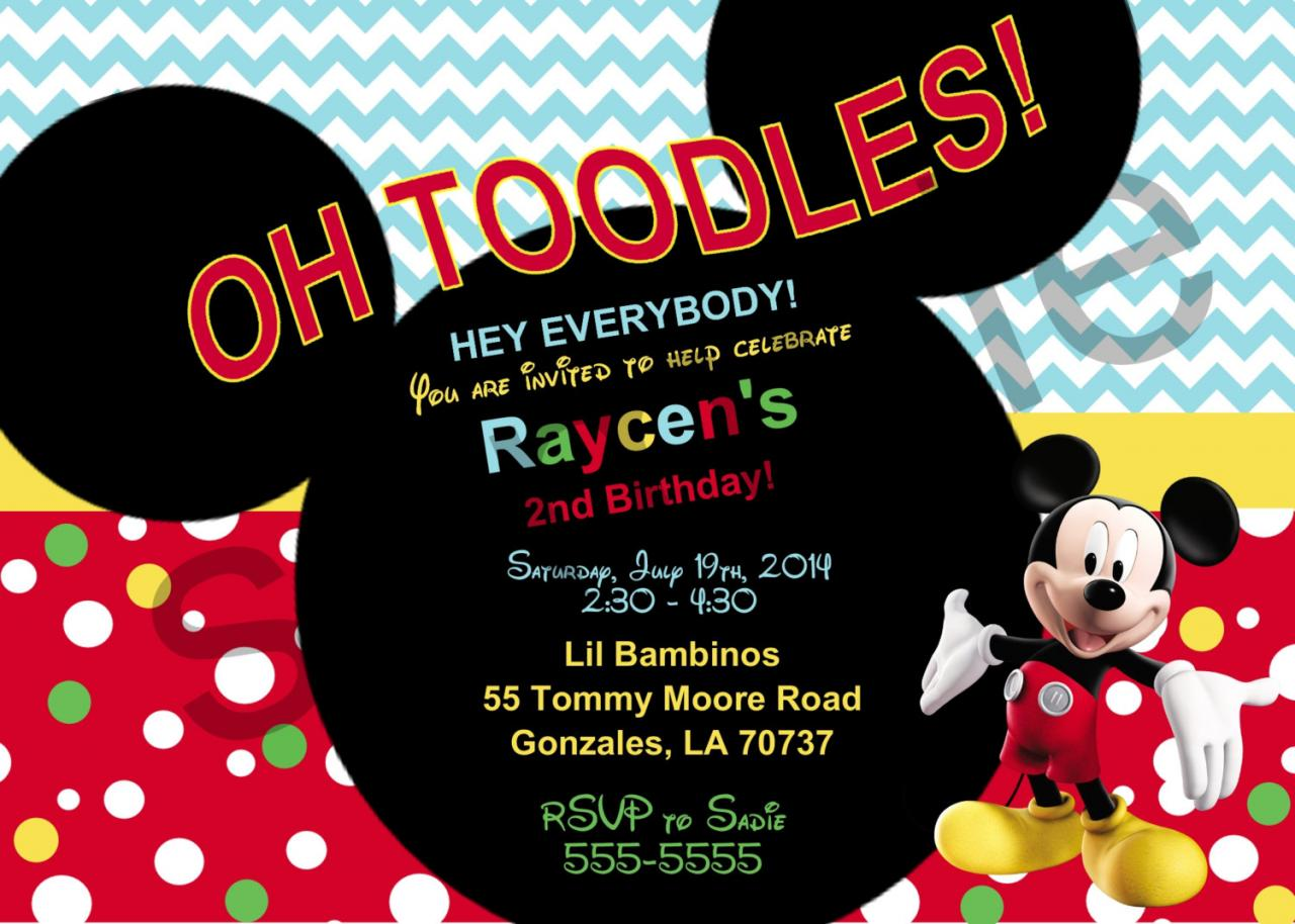 Mickey Mouse Birthday Invitation (Digital File)